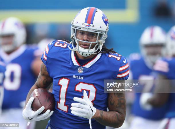 Kelvin Benjamin of the Buffalo Bills warms up before the start of NFL game action against the New Orleans Saints at New Era Field on November 12 2017...