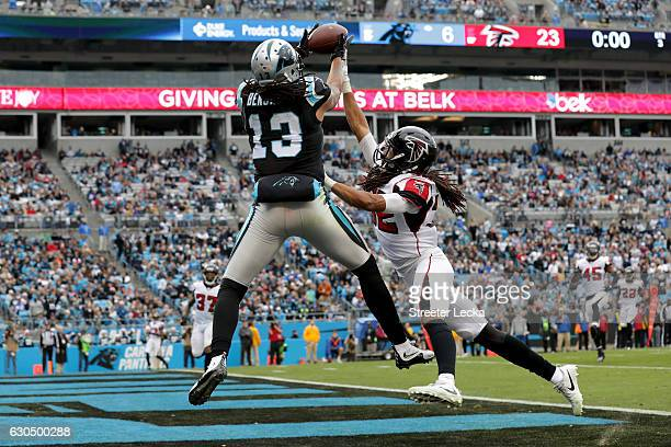 Kelvin Benjamin of the Carolina Panthers catches a touchdown against Jalen Collins of the Atlanta Falcons in the 3rd quarter during their game at...