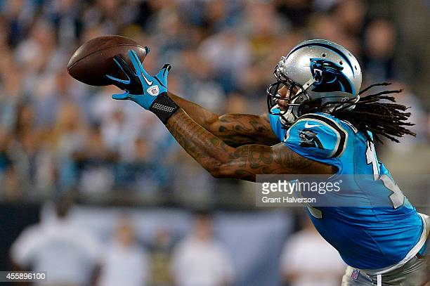 Kelvin Benjamin of the Carolina Panthers catches the ball against the Pittsburgh Steelers in the 3rd quarter during their game at Bank of America...
