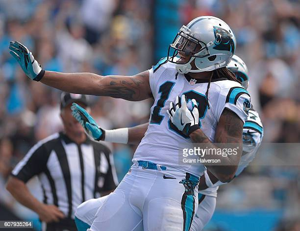 Kelvin Benjamin of the Carolina Panthers celebrates after scoring a touchdown against the San Francisco 49ers during the game at Bank of America...