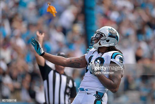 Kelvin Benjamin of the Carolina Panthers draws a celebration penalty flag after scoring a 3rd quarter touchdown against the San Francisco 49ers...