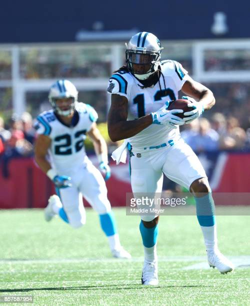 Kelvin Benjamin of the Carolina Panthers in action against the New England Patriots at Gillette Stadium on October 1 2017 in Foxboro Massachusetts