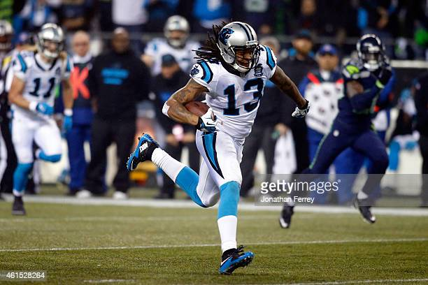 Kelvin Benjamin of the Carolina Panthers in action against the Seattle Seahawks during the 2015 NFC Divisional Playoff game at CenturyLink Field on...