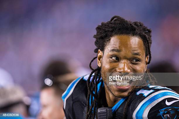 Kelvin Benjamin of the Carolina Panthers is interviewed on the sideline during the second half against the Buffalo Bills on August 14 2015 during a...
