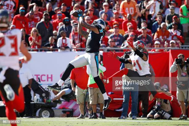 Kelvin Benjamin of the Carolina Panthers makes a 25yard touchdown reception in the fourth quarter of a game against the Tampa Bay Buccaneers at...