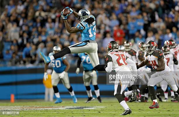 Kelvin Benjamin of the Carolina Panthers makes a leaping catch against the Tampa Bay Buccaneers in the 2nd quarter during their game at Bank of...