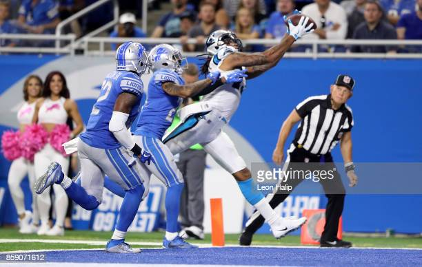 Kelvin Benjamin of the Carolina Panthers makes a touchdown catch against the Detroit Lions during the third quarter at Ford Field on October 8 2017...
