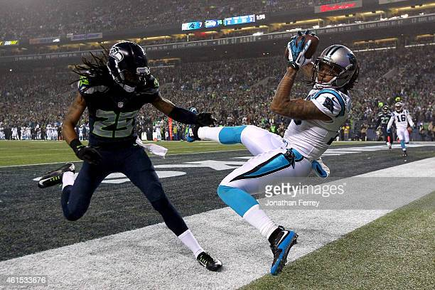 Kelvin Benjamin of the Carolina Panthers misses a touchdown catch against Richard Sherman of the Seattle Seahawks during the 2015 NFC Divisional...