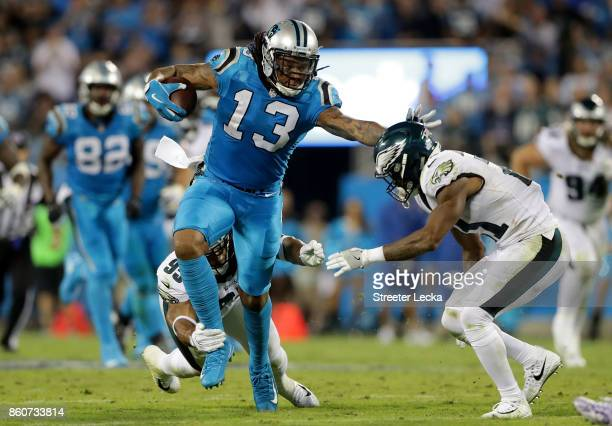 Kelvin Benjamin of the Carolina Panthers runs the ball against Patrick Robinson of the Philadelphia Eagles in the third quarter during their game at...