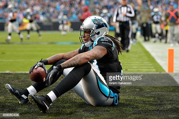 Kelvin Benjamin of the Carolina Panthers takes a break after his 4th quarter touchdown reception against the Atlanta Falcons during their game at...