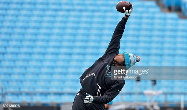 Kelvin Benjamin of the Carolina Panthers warms up before the game against the San Diego Chargers at Bank of America Stadium on December 11 2016 in...