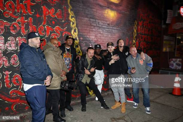 Kelvin Buda Molina Shatek Krayzie Bone Alberto Polo Cretara Uncle Murda RahC Bizzy Bone and Steve Lobel on set at the Bone Thugz N Harmony Changed...