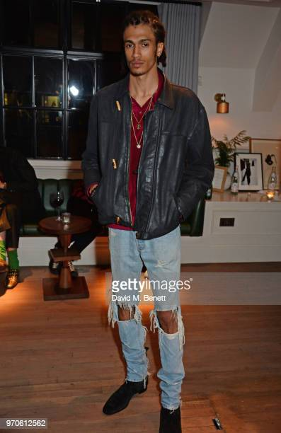 Kelvin Bueno attends the London Fashion Week Men's cocktail party with DANIEL w FLETCHER and Christian Louboutin at Mortimer House on June 9 2018 in...