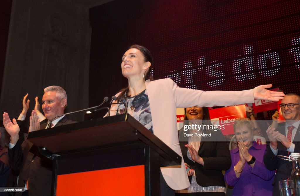 Kelvin Davis, Deputy Leader & MP for Te Tai Tokerau (L) and Jacinda Ardern, Leader of the Labour Party & MP for Mt Albert on the stage at the end of the party's campaign launch on August 20, 2017 in Auckland, New Zealand. The New Zealand general election will be held on September 23, 2017.