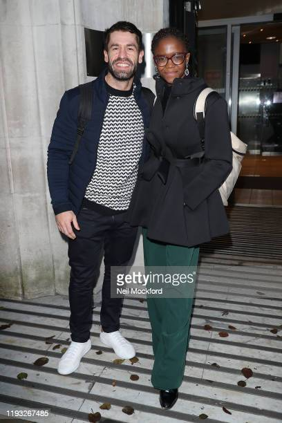 Kelvin Fletcher and Oti Mabuse seen at BBC Radio 2 ahead of the Strictly Come Dancing 2019 Final on December 11 2019 in London England
