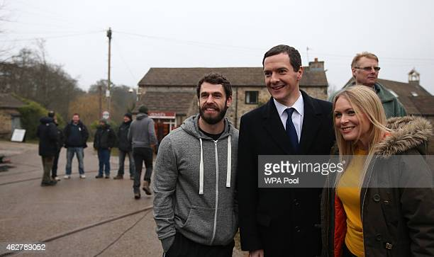 Kelvin Fletcher Chancellor Of The Exchequer George Osborne and Michelle Hardwick during a visit to the set of television series Emmerdale on the...