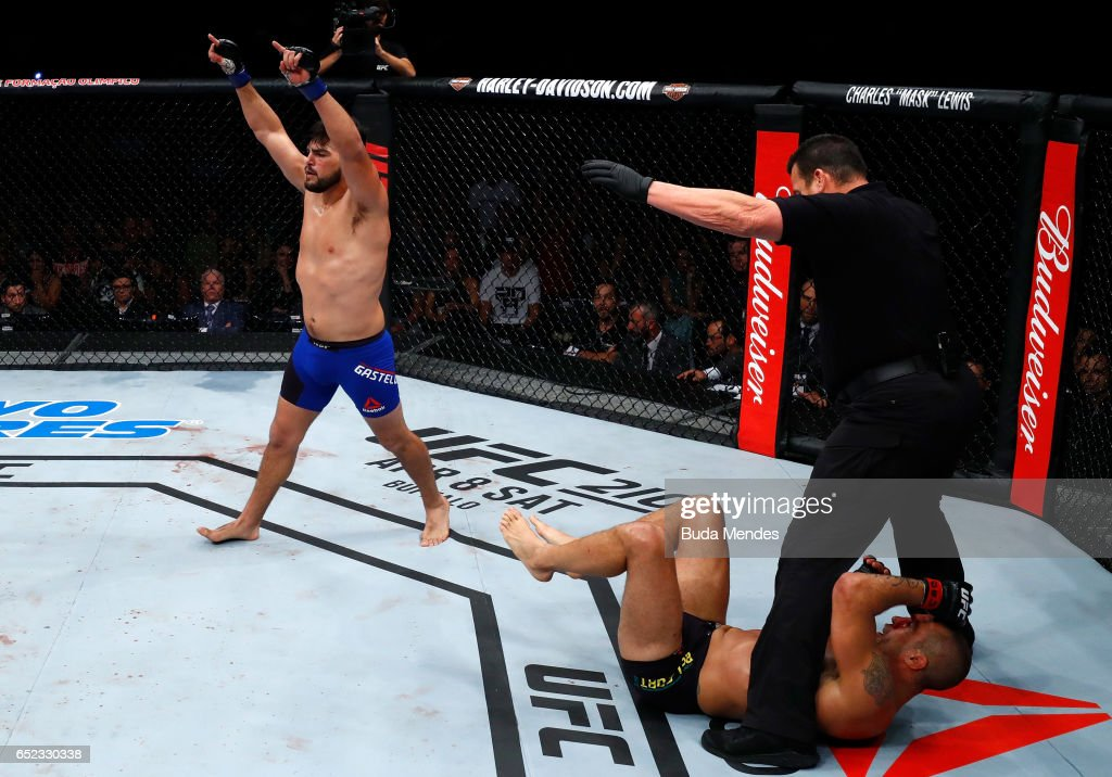 Kelvin Gastelum celebrates after his knockout victory over Vitor Belfort of Brazil in their middleweight bout during the UFC Fight Night event at CFO - Centro de Formaco Olimpica on March 11, 2017 in Fortaleza, Brazil.