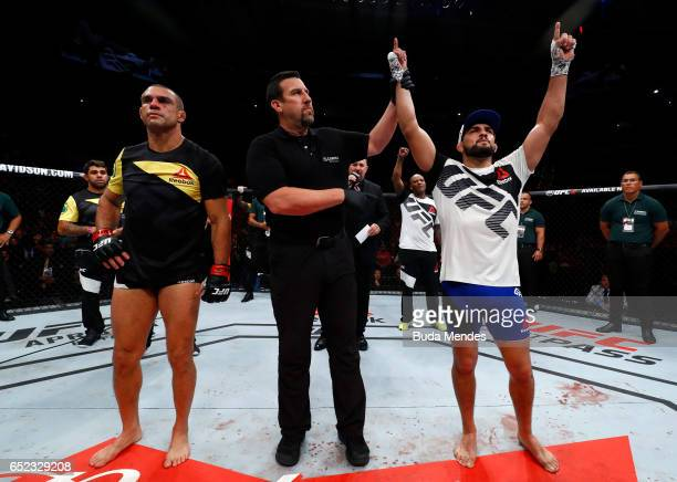 Kelvin Gastelum celebrates his knockout victory over Vitor Belfort of Brazil in their middleweight bout during the UFC Fight Night event at CFO...