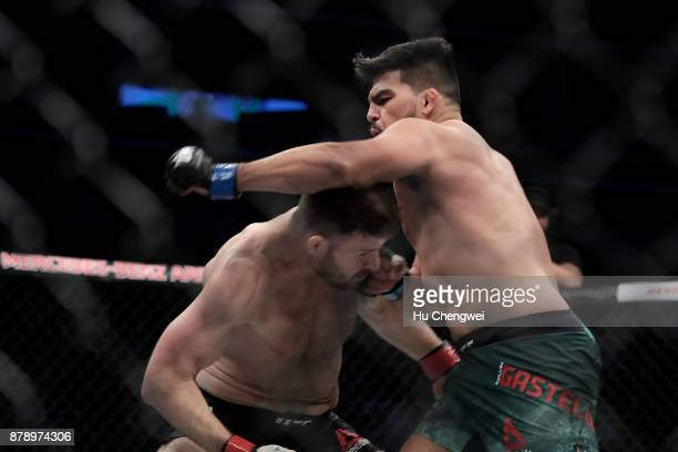 Kelvin Gastelum fights with Michael Bisping during the UFC Fight Night at MercedesBenz Arena on November 25 2017 in Shanghai China
