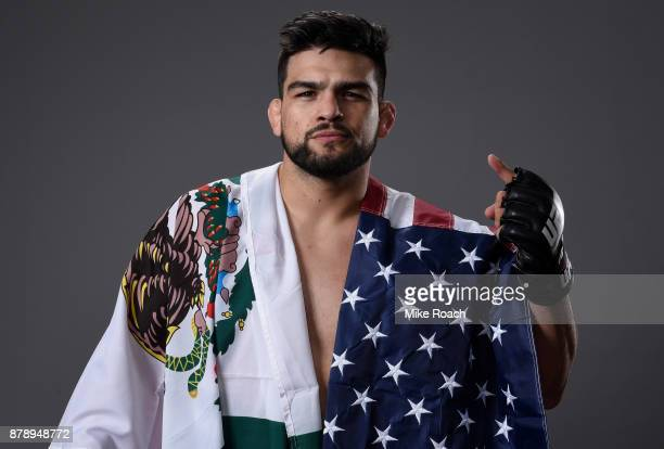 Kelvin Gastelum poses for a portrait backstage after his victory over Michael Bisping during the UFC Fight Night event inside the MercedesBenz Arena...
