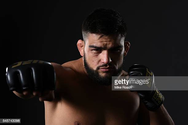 Kelvin Gastelum poses for a portrait backstage during the UFC 200 event on July 9 2016 at TMobile Arena in Las Vegas Nevada