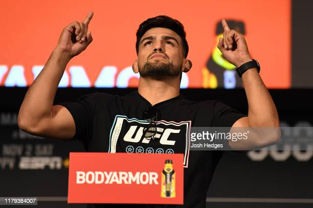Kelvin Gastelum poses on the scale during the UFC 244 weighins at the Hulu Theatre at Madison Square Garden on November 1 2019 in New York New York