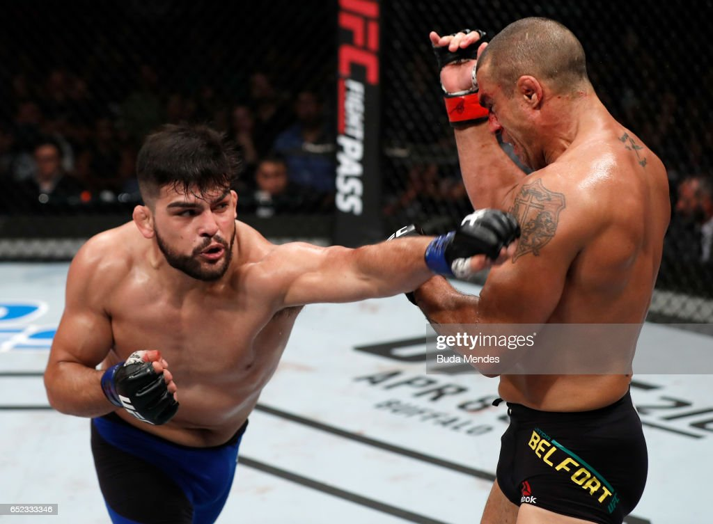 Kelvin Gastelum punches Vitor Belfort of Brazil in their middleweight bout during the UFC Fight Night event at CFO - Centro de Formaco Olimpica on March 11, 2017 in Fortaleza, Brazil.