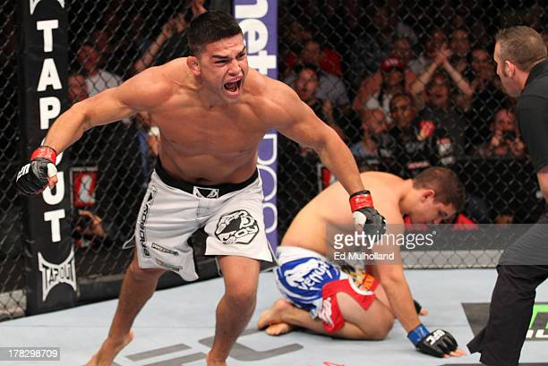 Kelvin Gastelum reacts after his submission victory over Brian Melancon in their welterweight fight during the UFC on FOX Sports 1 event at Bankers...