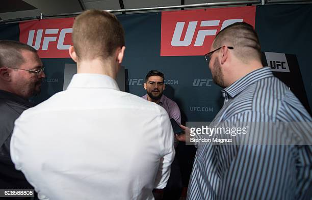 Kelvin Gastelum speaks to the media during the UFC 206 Ultimate Media Day event inside the Westin Harbour Castle Hotel on December 8, 2016 in...