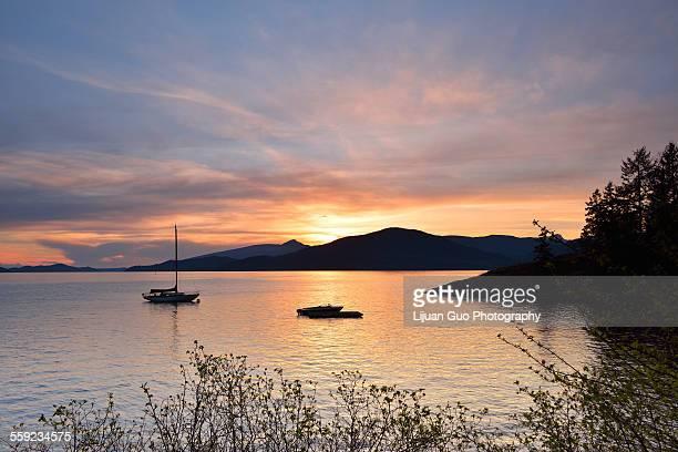 kelvin grove beach sunset - grove imagens e fotografias de stock