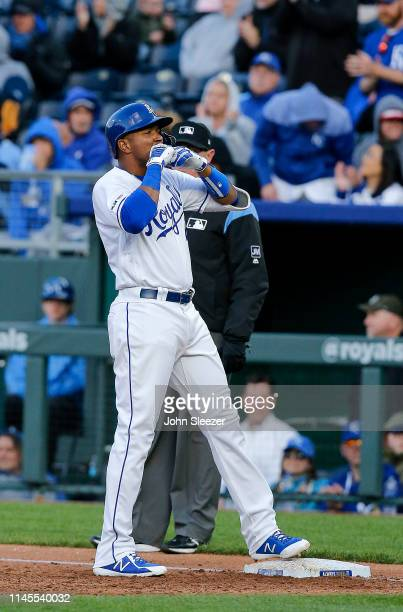 Kelvin Gutierrez of the Kansas City Royals celebrates his first career hit for a two run single in the third inning during the game against the Los...