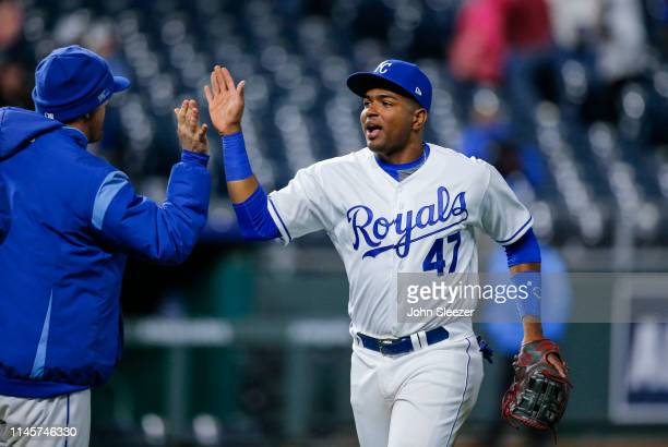 Kelvin Gutierrez of the Kansas City Royals celebrates the teams 94 win after his major league debut during the game against the Los Angeles Angels of...
