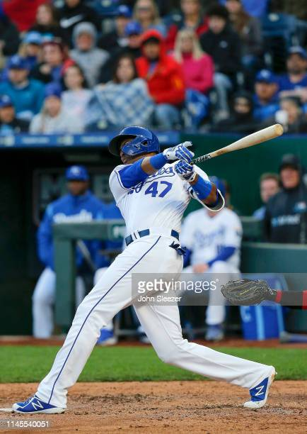 Kelvin Gutierrez of the Kansas City Royals follows through on a two run single in the third inning for his first career hit during the game against...