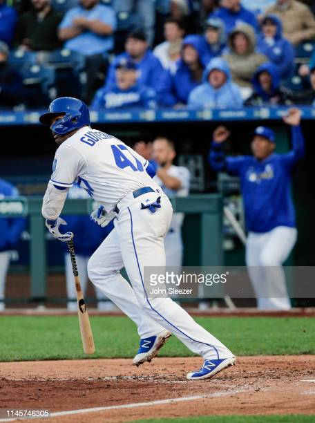 Kelvin Gutierrez of the Kansas City Royals heads to first on his first major league hit for a two run single in the third inning during the game...