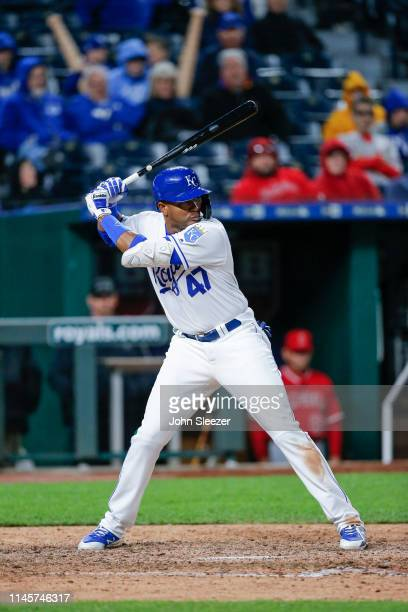 Kelvin Gutierrez of the Kansas City Royals in the sixth inning during the game against the Los Angeles Angels of Anaheim at Kauffman Stadium on April...