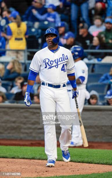 Kelvin Gutierrez of the Kansas City Royals in the third inning in his major league debut during the game against the Los Angeles Angels of Anaheim at...