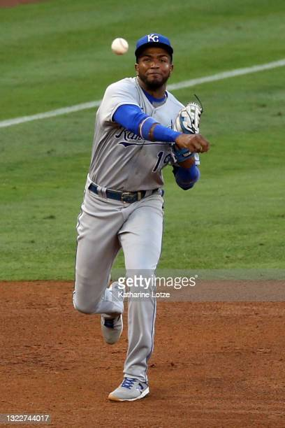 Kelvin Gutierrez of the Kansas City Royals throws from near third base during a game against the Los Angeles Angels at Angel Stadium of Anaheim on...