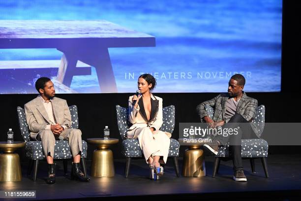 Kelvin Harrison Jr Taylor Russell and Sterling K Brown onstage during the Waves Atlanta red carpet premiere at SCADShow on October 16 2019 in Atlanta...