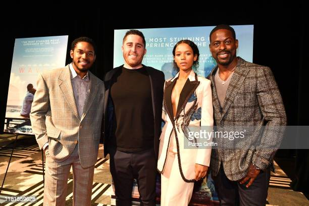 Kelvin Harrison Jr Trey Edward Shults Taylor Russell and Sterling K Brown attend the Waves Atlanta red carpet premiere at SCADShow on October 16 2019...