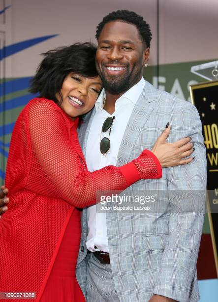 Kelvin Hayden and Taraji P Henson attend a ceremony honoring her with a star on the Hollywood Walk Of Fame on January 28 2019 in Los Angeles...