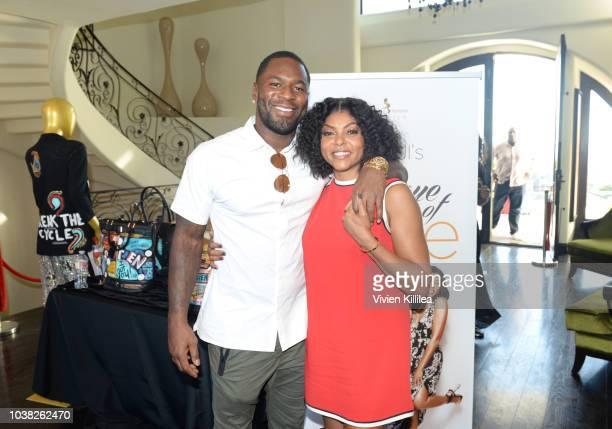 Kelvin Hayden and Taraji P Henson attend Taraji's Boutique Of Hope Launch Of The Boris Lawrence Henson Foundation on September 22 2018 in Beverly...