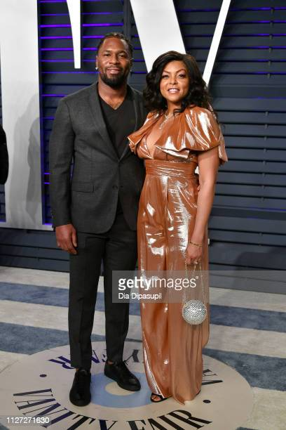 Kelvin Hayden and Taraji P Henson attend the 2019 Vanity Fair Oscar Party hosted by Radhika Jones at Wallis Annenberg Center for the Performing Arts...