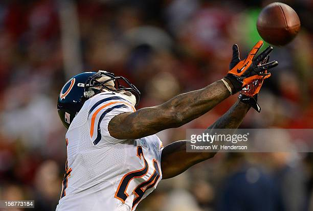 Kelvin Hayden of the Chicago Bears catching a pass during pregame warm ups prior to playing the San Francisco 49ers at Candlestick Park on November...