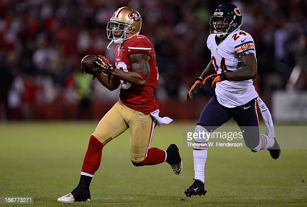 Kelvin Hayden of the Chicago Bears chases after Kyle Williams of the San Francisco 49ers after Williams reception in the first quarter of the game at...