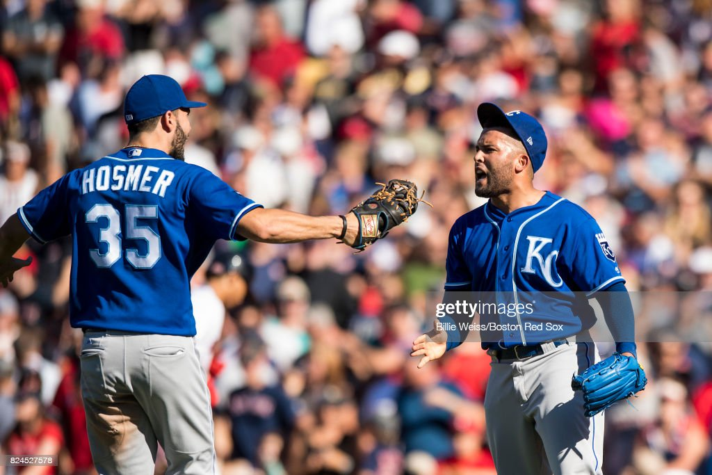 Kelvin Herrera #40 and Eric Hosmer #35 of the Kansas City Royals celebrates a victory against the Boston Red Sox on July 30, 2017 at Fenway Park in Boston, Massachusetts.