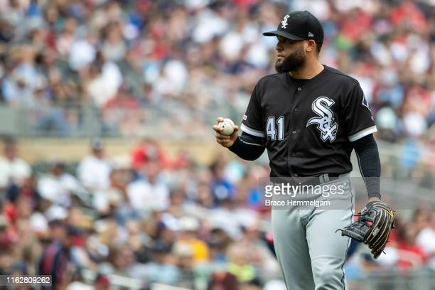 Kelvin Herrera of the Chicago White Sox looks on against the Minnesota Twins on May 25 2019 at the Target Field in Minneapolis Minnesota The Twins...
