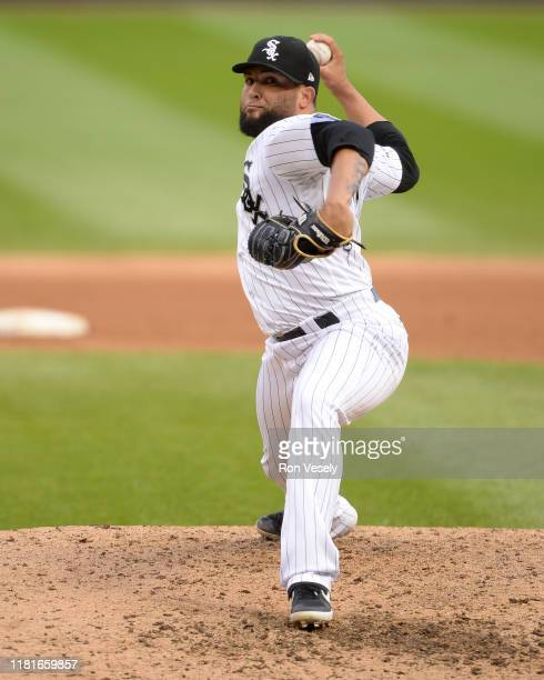 Kelvin Herrera of the Chicago White Sox pitches against the Detroit Tigers during the first game of a double header on September 28 2019 at...