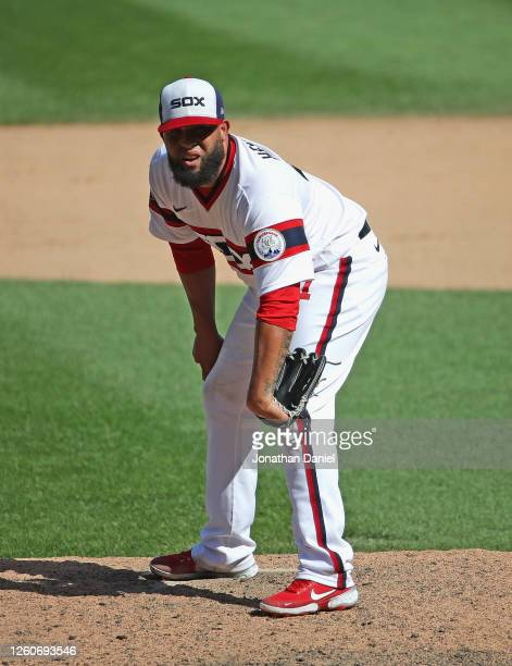 Kelvin Herrera of the Chicago White Sox pitches against the Minnesota Twins at Guaranteed Rate Field on July 26 2020 in Chicago Illinois The Twins...