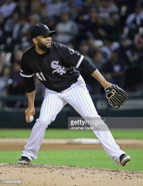 Kelvin Herrera of the Chicago White Sox pitches against the New York Yankees at Guaranteed Rate Field on June 13 2019 in Chicago Illinois The White...