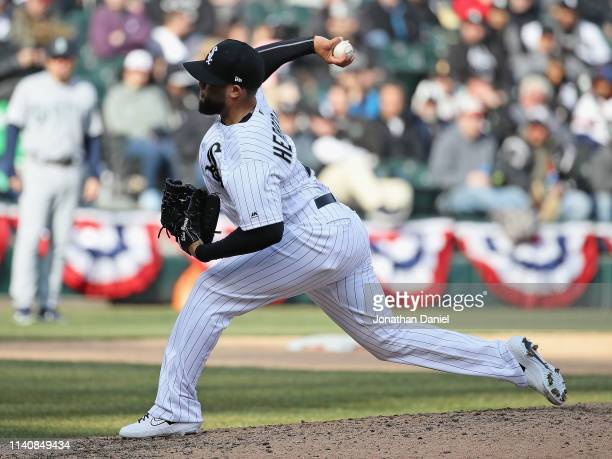 Kelvin Herrera of the Chicago White Sox pitches against the Seattle Mariners during the season home opening game at Guaranteed Rate Field on April 05...